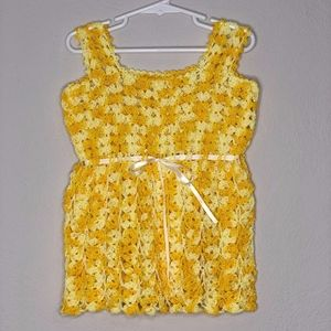 two-toned yellow crochet dress